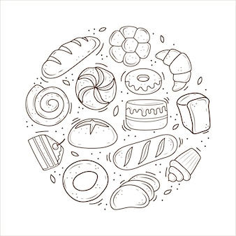 Bakery products drawn in the style of doodle
