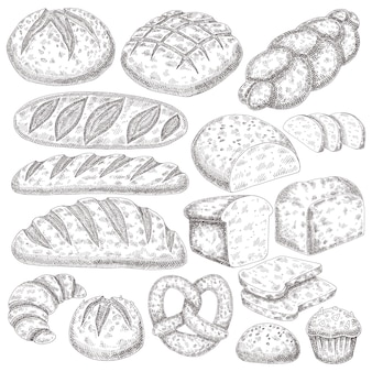 Bakery products hand draw.