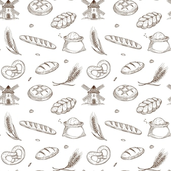 Bakery products, old mill and fresh spikes inside seamless pattern