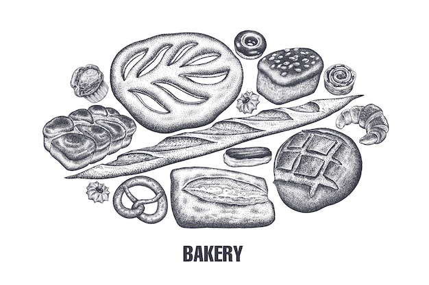 Bakery products set. variations of bread.