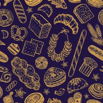 ベーカリー製品恥知らずなパターンドーナツベーグルクッキーとバゲットパイとクロワッサンが刻まれています
