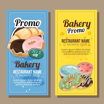Bakery promo banner in hand drawn style
