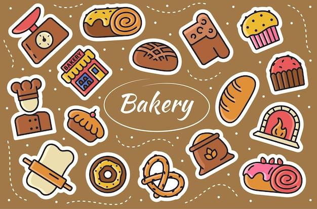 베이커리 관련 스티커 세트입니다. farinaceous 음식 컬렉션입니다. 벡터 일러스트 레이 션.