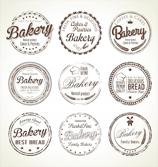 Bakery retro badges collection
