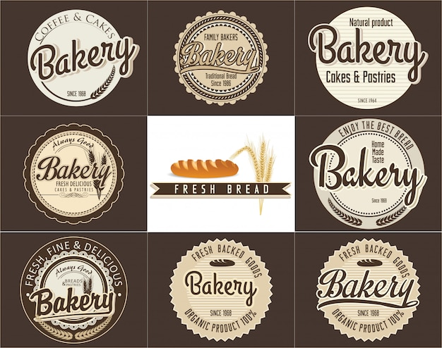 Bakery retro banner, set