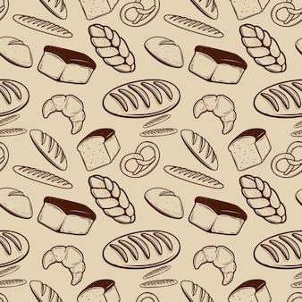 ベーカリー。パン、パン、ベーグル、クロワッサンとのシームレスなパターン。ポスター、包装紙の要素。図