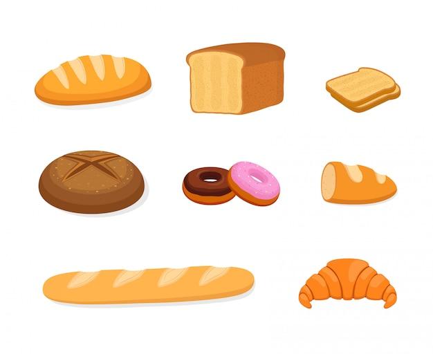 ベーカリーセット-パン、ライ麦、シリアルパン Premiumベクター