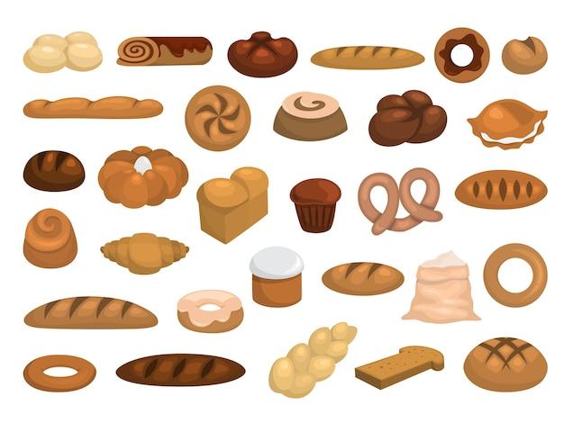 Набор пекарни. сбор свежего хлеба, круассана