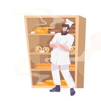 베이커리는 선반에 구운 제품이 있는 캐비닛 앞에 수염이 있는 요리사가 있는 평평한 구성을 설정합니다.