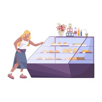 Плоская композиция из пекарни с женским персонажем, выбирающим круассан на витрине магазина