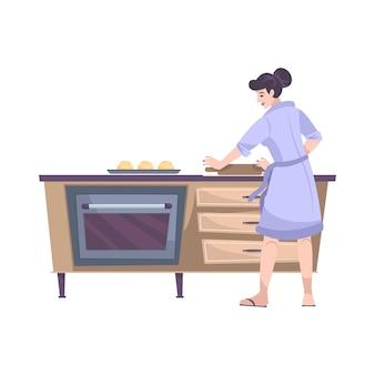 Плоская композиция для выпечки с видом спереди на кухонный стол с духовкой и женщиной-поваром
