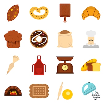Bakery set flat icons