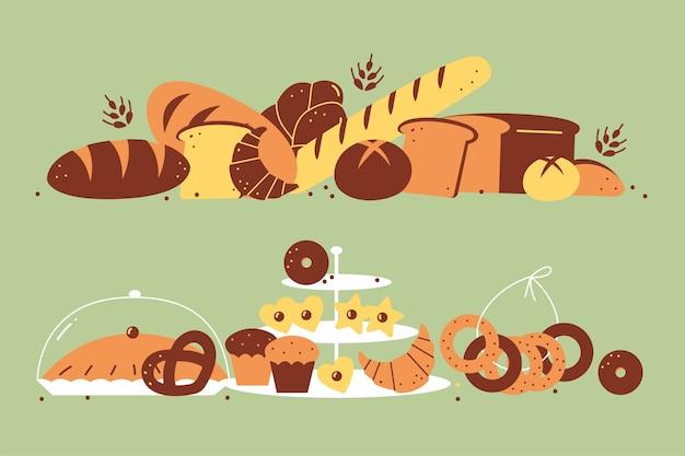 Набор пекарни. ручной обращается белый хлеб буханки, печенье, тосты, булочки, круассаны, пончики, еда, нездоровое питание. иллюстрация сельскохозяйственных продуктов запеченной пшеницы.