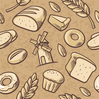 Bakery set icon. seamless pattern hand drawn vintage for bakery. bread, grain, wheat, donut, cake mill and cooking. set vector bakery symbols and icon.