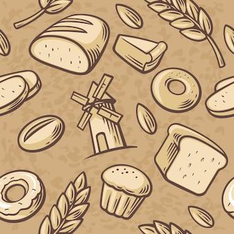 Значок набора пекарни. бесшовный фон рисованной винтаж для пекарни. хлеб, зерно, пшеница, пончики, мельница для торта и кулинария. установите векторные пекарни символы и значок.