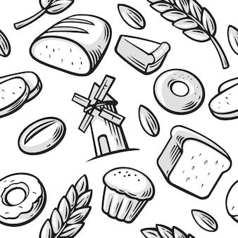 빵집 빵 곡물 밀 도넛 케이크 밀 빵집 아이콘 원활한 패턴 빈티지 설정