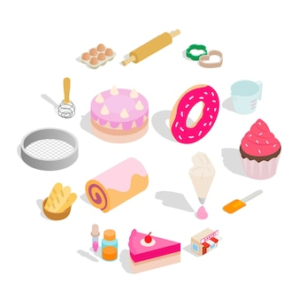Bakery set icons, isometric style