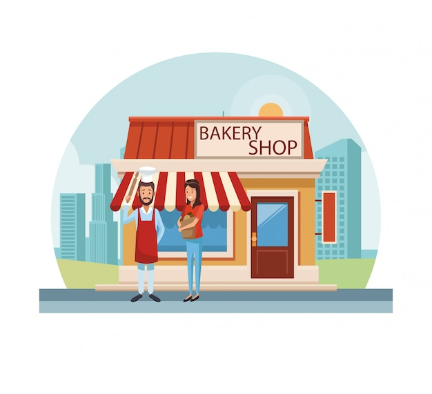 도시에서 빵집 가게