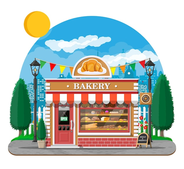 간판과 베이커리가 게 건물 외관입니다. 베이킹 스토어, 카페, 빵, 패스트리 및 디저트 가게. 빵, 케이크와 함께 진열장. 도시 공원, 가로등, 나무. 시장, 슈퍼마켓.