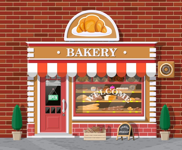 Bakery shop building facade with signboard. baking store, cafe, bread, pastry and dessert shop. showcases with various bread and cakes products.