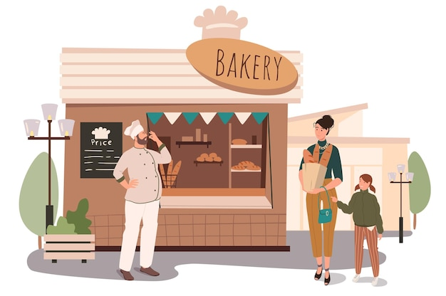 Пекарня строит веб-концепцию. мать и дочь покупают свежий хлеб и выпечку в магазине. бейкер продает свою продукцию