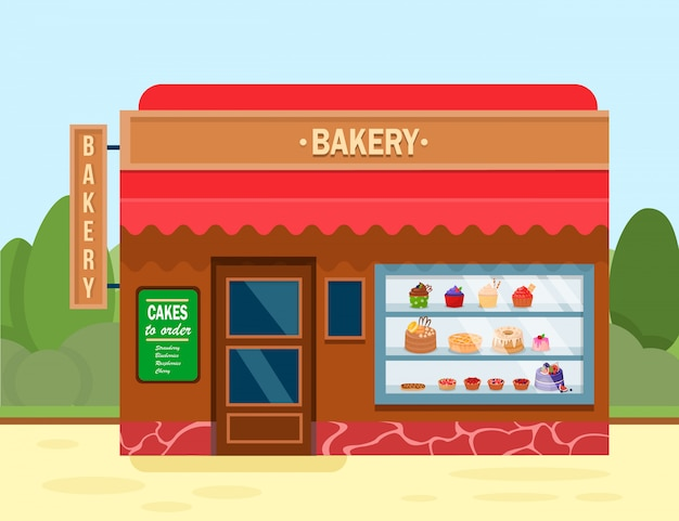 Bakery shop building with sweet desserts banner.
