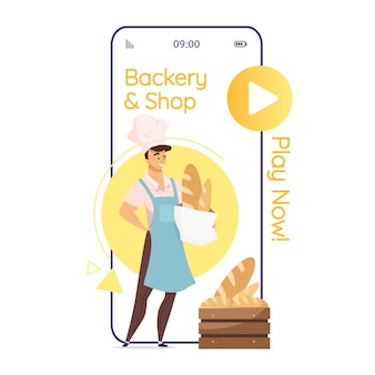 Bakery and shop cartoon smartphone app screen. baker with bread. bakehouse. mobile phone displays with flat character design . application telephone cute interface