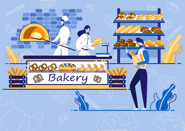 Bakery shop, chef baking bread, customer buying