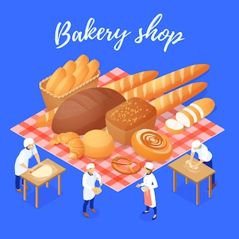 Bakery shop composition with flour products and staff during work isometric vector illustration