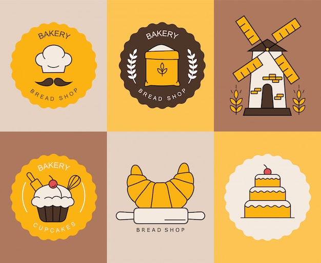 Bakery shop elements, isolated colored logos, sweet shop, bread, cupcake, biscuit logos  colored logo collection