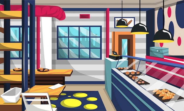 Bakery shop interior room with cake on storefront