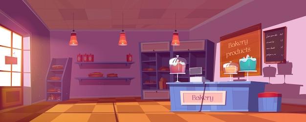 Interiore del negozio di panetteria con torte, pane e pasticceria in vetrina e scaffali.