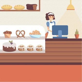Интерьер магазина пекарни со стеклянной витриной, полной выпечки и хлеба. девушка пекарь персонаж в фартук, стоя за прилавком. плоский мультфильм.