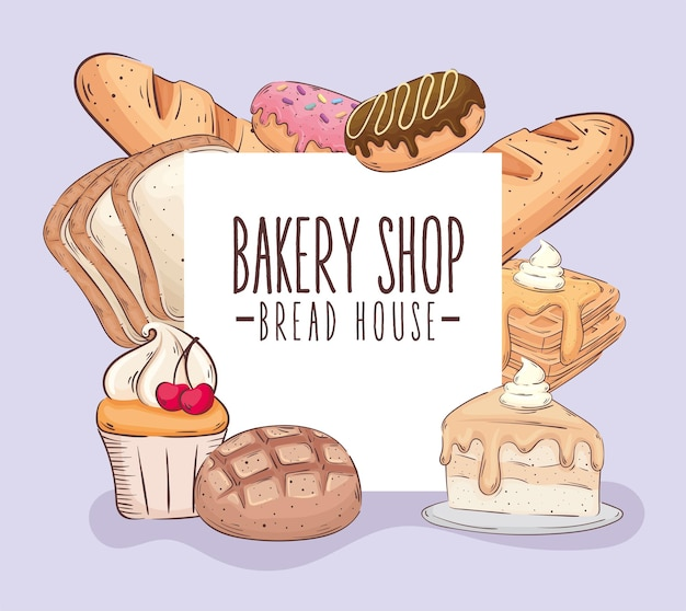 Bakery shop lettering banner with pastry products vector illustration design