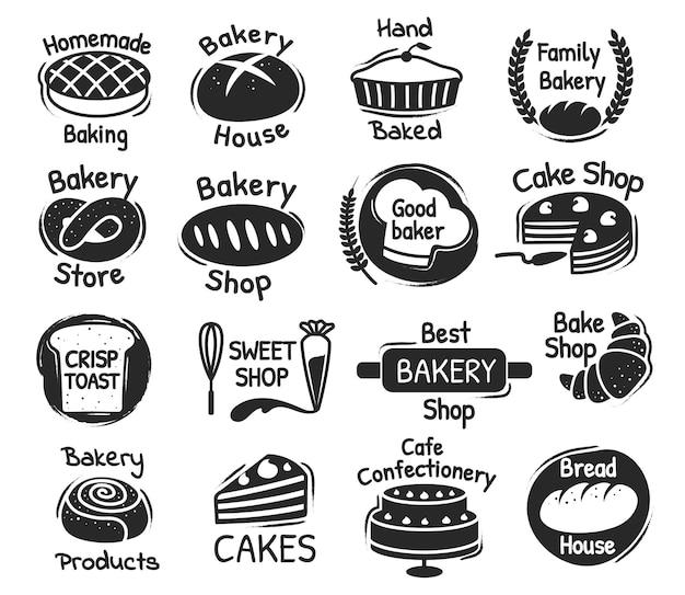 ベーカリーショップのレタリングロゴ、菓子、デザートのラベル。おいしい手作りペストリー、ベーキング製品パッケージスタンプデザインベクトルセット。最高のパン屋と甘い店のロゴタイプ