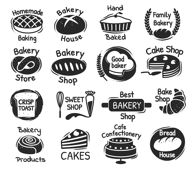 Bakery shop lettering logo, confectionery and desserts labels. delicious handmade pastry, baking products packaging stamp design vector set. best bakery house and sweet store logotype