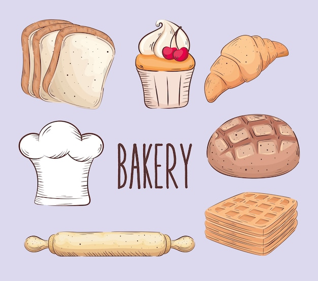 Bakery shop lettering with seven set icons vector illustration design