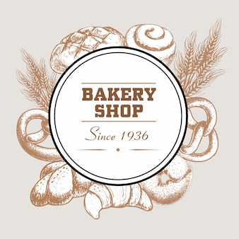 Bakery shop logo badge with fresh baked bread loaf, pretzel, croissant, bagel, cinnamon iced bun and wheat.