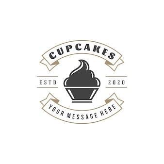 베이커리 숍 로고 템플릿. 과자 식품 라벨의 개체 및 아이콘