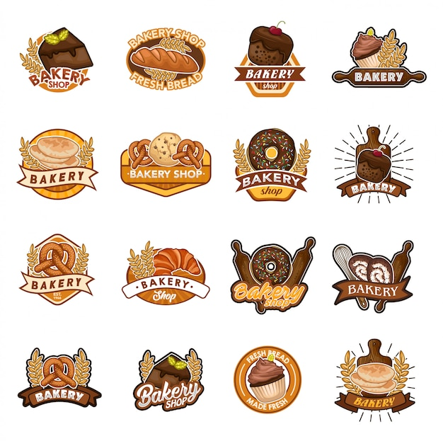 Bakery shop logo vector set