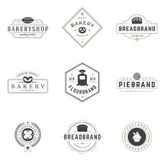 Bakery shop logos templates set.