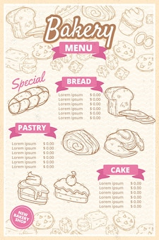 Bakery shop menu template