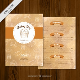 Bakery shop menu