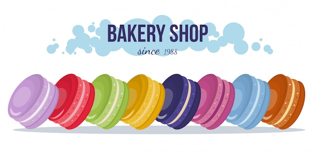 Bakery shop presentation banner with macaroons