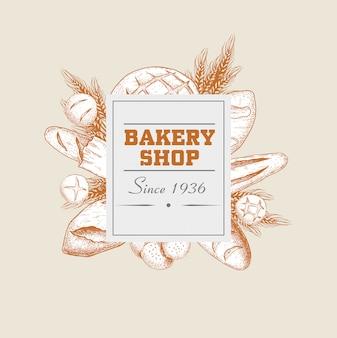 Bakery shop round banner.