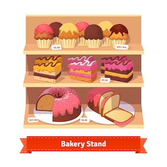 Bakery shop stand with sweet desserts