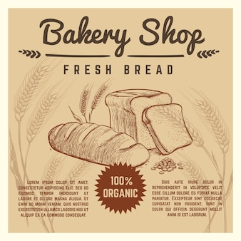 Bakery shop vector retro poster