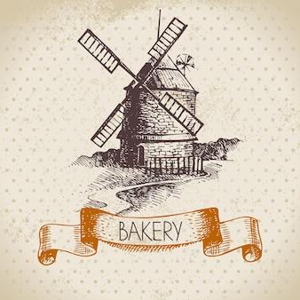 パン屋のスケッチの背景。ミルのヴィンテージ手描きイラスト