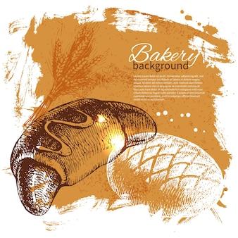 パン屋のスケッチの背景。ヴィンテージ手描きイラスト