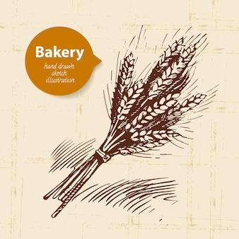 Фон эскиза пекарни. винтаж рисованной иллюстрации